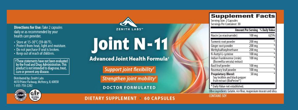 Joint N-11 Ingredients List - Nutrition Facts